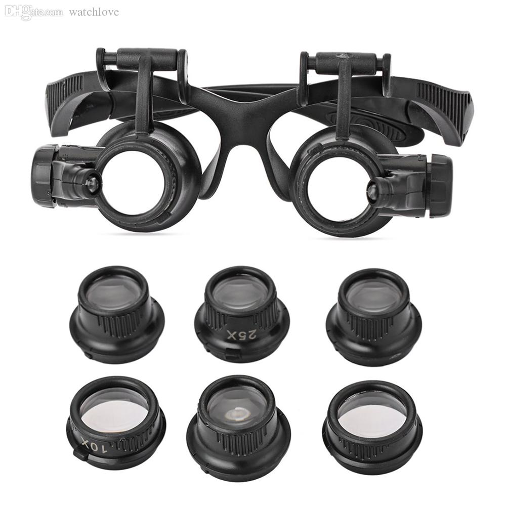 2018 Wholesale Magnifying Glasses 10x 15x 20x 25x Led Magnifier Double Eye  Glasses Loupe Lens Jeweler Watch Repair Magnifier Measurement Tools From ...