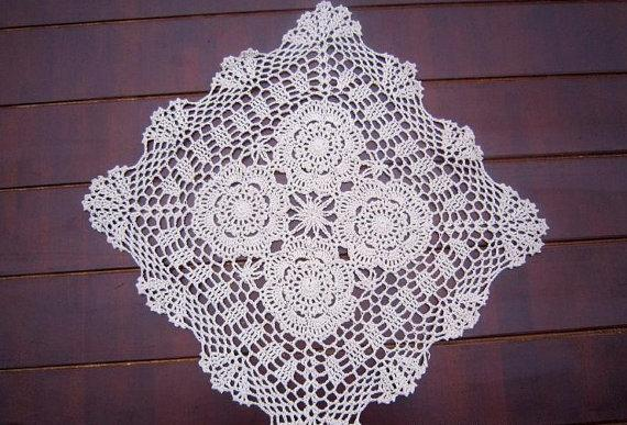 40x40 cm square table cover, 100% handmade tablecloth, hand crochet placemats, table mat