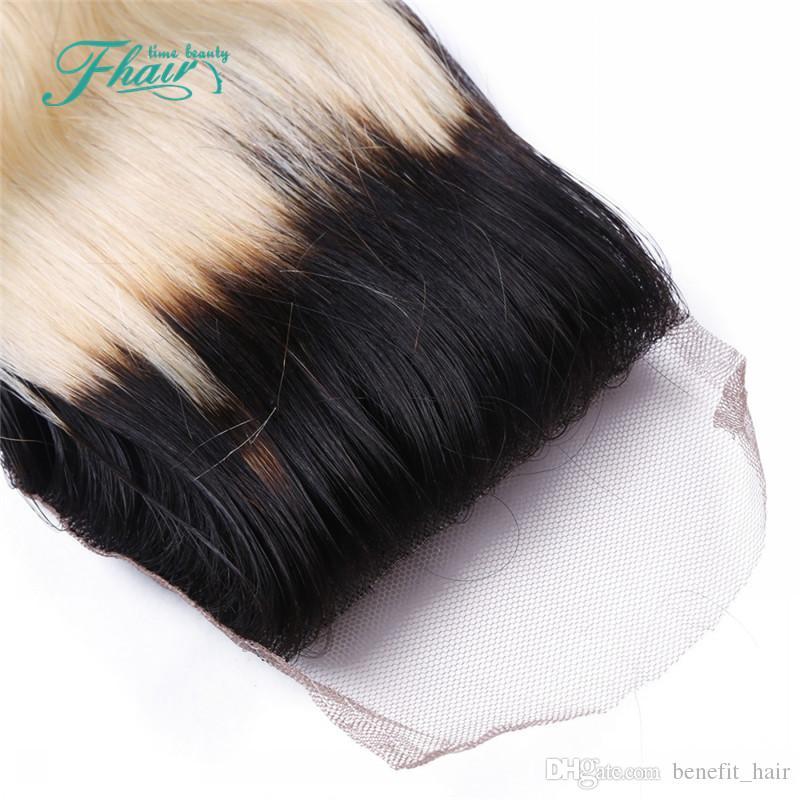 9A бразильские наращивание волос с закрытием красоты волос боди-Вэйв 1B/613 Ombre волос 3 шт пучки с закрытием