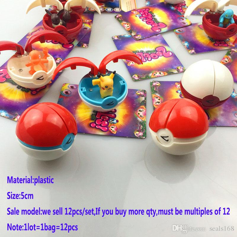 12 unids / set New Go Ball Toys Kids Kids 5Cm Cosplay Cartoon Action Movie Games Figuras Juguetes de plástico con tarjeta de Navidad regalos GD-T14