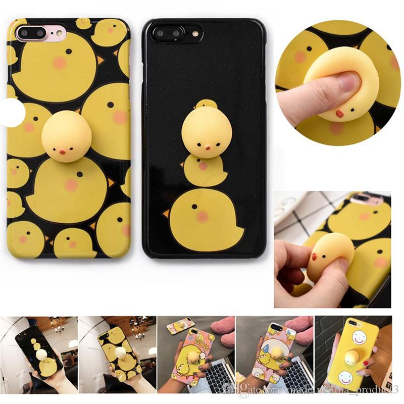 best loved aa84a 9c992 IMD Soft TPU Cases for iPhone X 8 7 6 6s Plus Squishy Chicken phone covers  Funny Release Pressure 3D toys Cartoon Cover