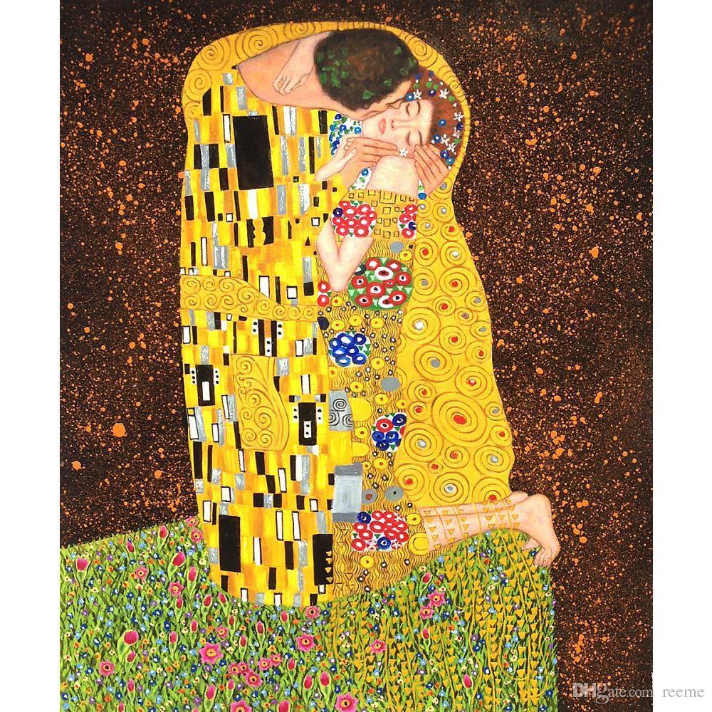 2018 Decorative Paintings Gustav Klimt The Kiss Full View Canvas Art ...