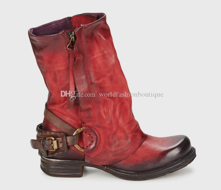 2017 Fashion Winter Woman Ladies Motorcycle Boots Vintage Combat