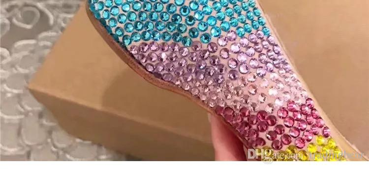 Sexy high heels red bottom rainbow colorful crystal rhinestone pumps wedding shoes christmas party size 33 to 40 41