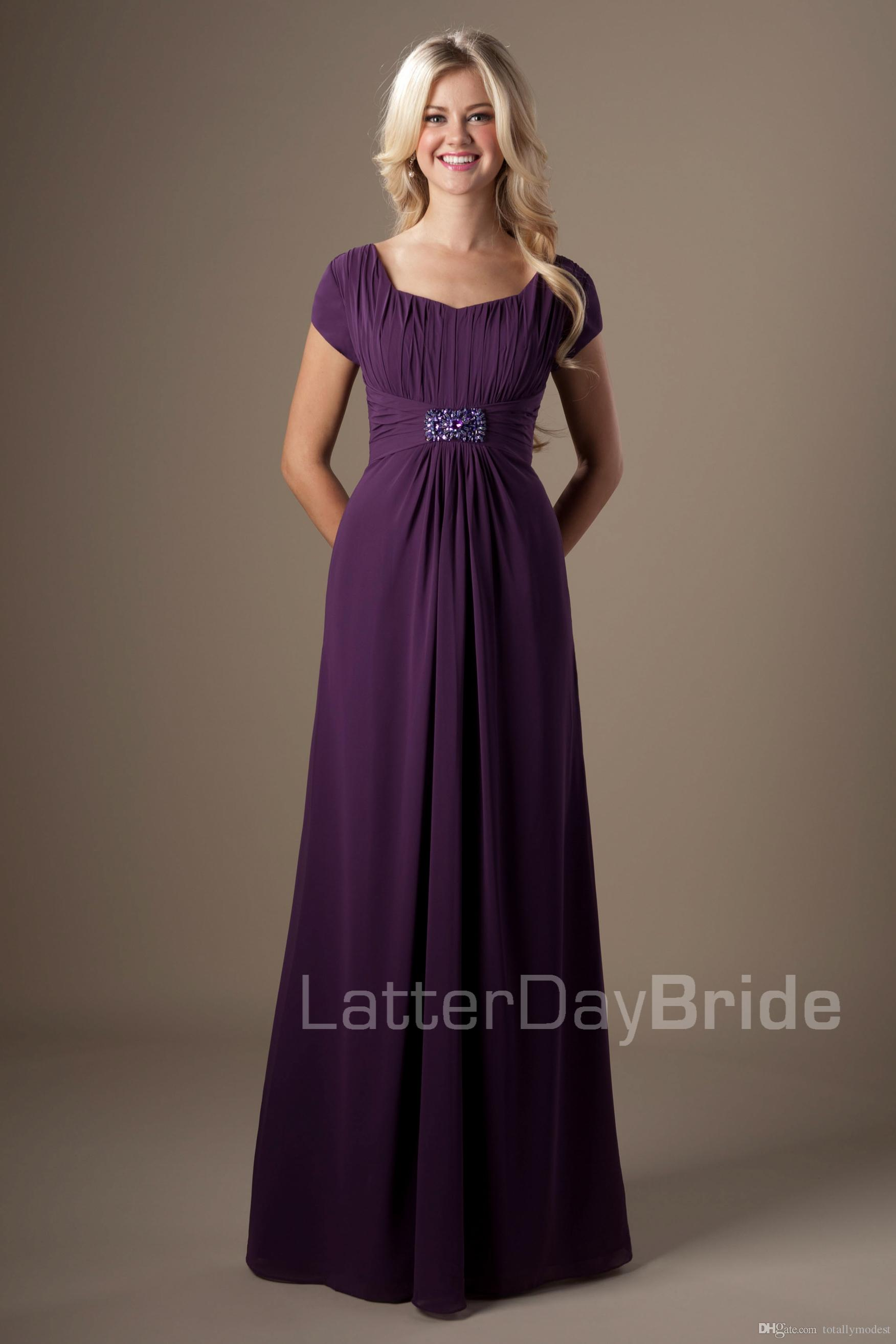 Eggplant wedding dresses online eggplant wedding dresses for sale eggplant puprle lace chiffon modest bridesmaid dresses with short sleeves a line temple wedding guests dresses long maids of honor dresses ombrellifo Images