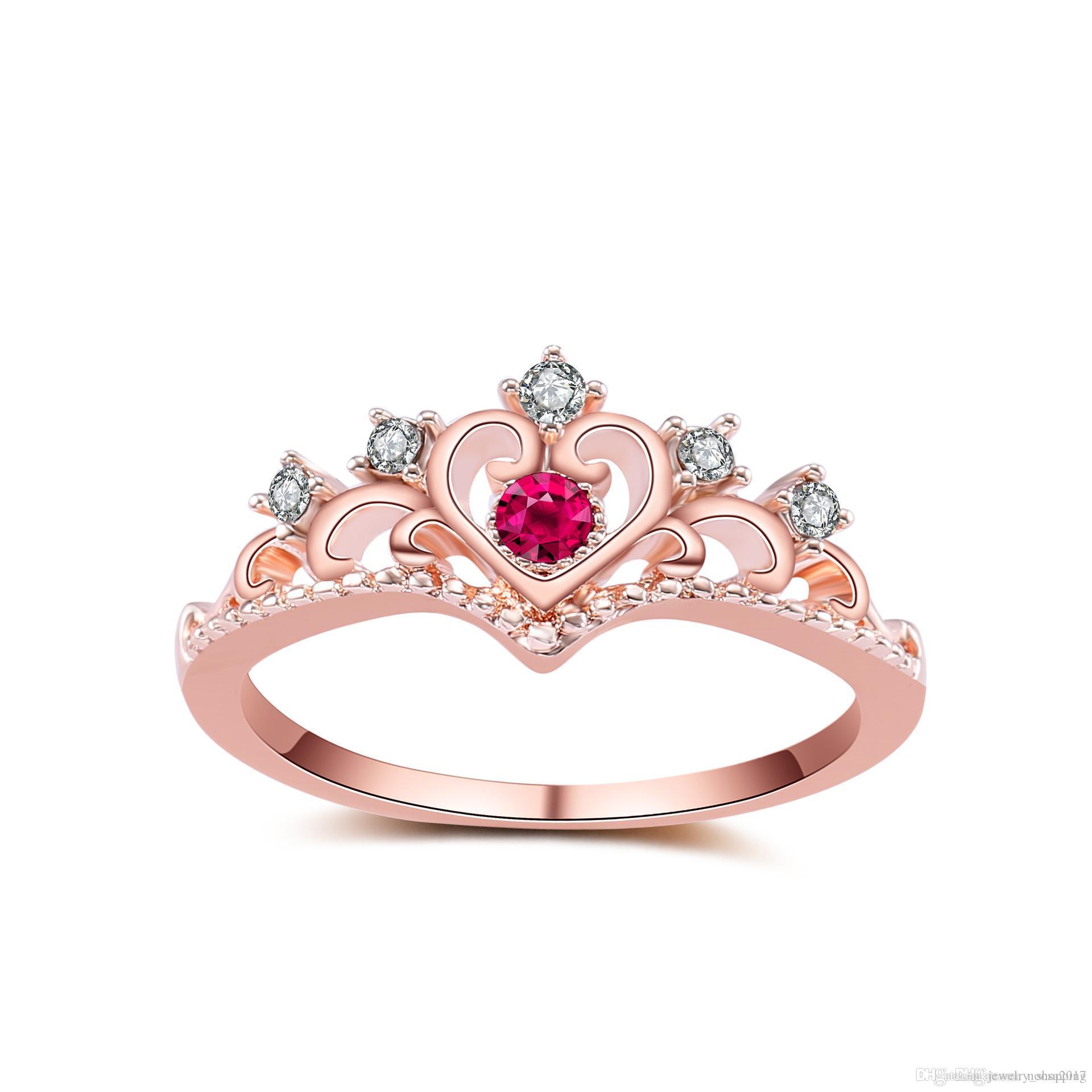 Luxury Bling Diamond Crown Rings For Women Elegant Luxury