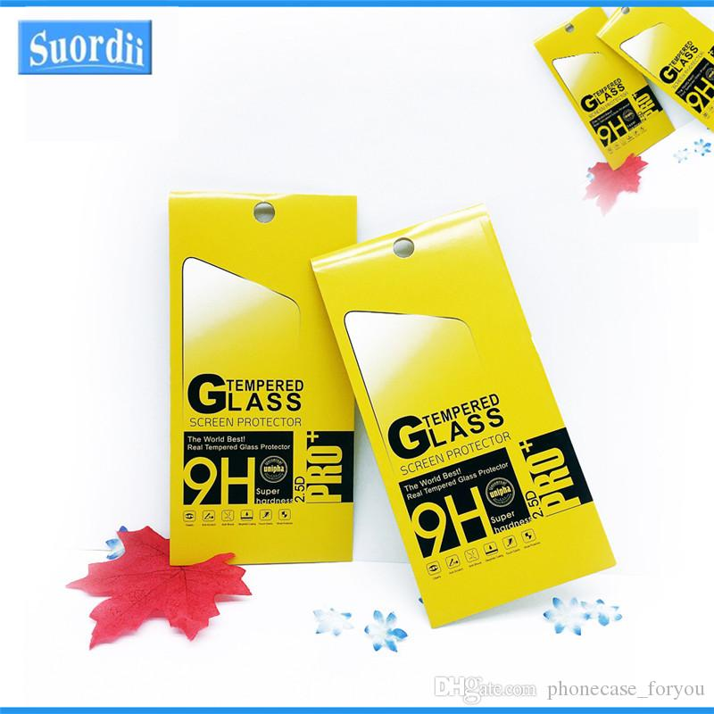 Protecteur D'écran emballage de détail papier boîtes affichage emballage Premium En Verre Trempé 9 H 2.5 D Pour huawei P8 P9