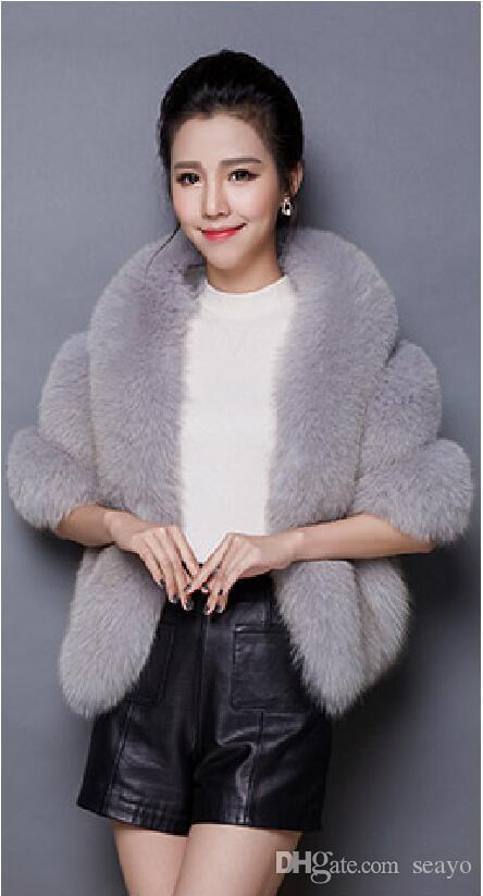 2019 Winter Wedding Coat Bridal Faux Fur Wraps Warm shawls Outerwear pink White Gray Women Jacket Prom Evening Party total 140cm