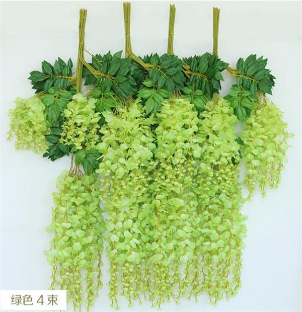 Artificial Wisteria Flower Rattans 110cm / 70cm Silke Wisteria Flower Vined För Bröllop Jul Dekorativa Vines Blommor