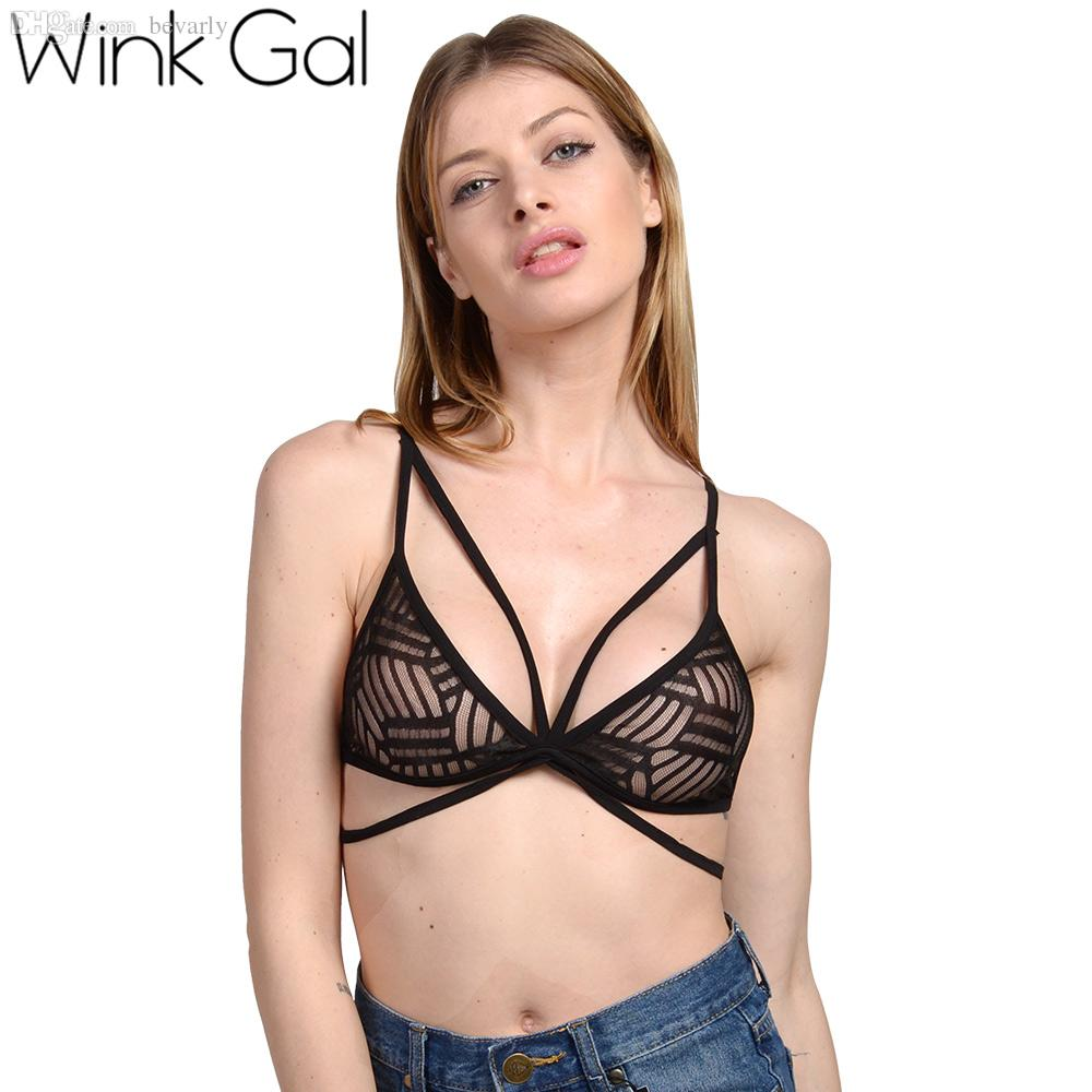 64c71b62d7587 2019 Wholesale Wink Gal Women S Lace Strappy Cami Black Transparent Fashion Sexy  Bra From Bevarly