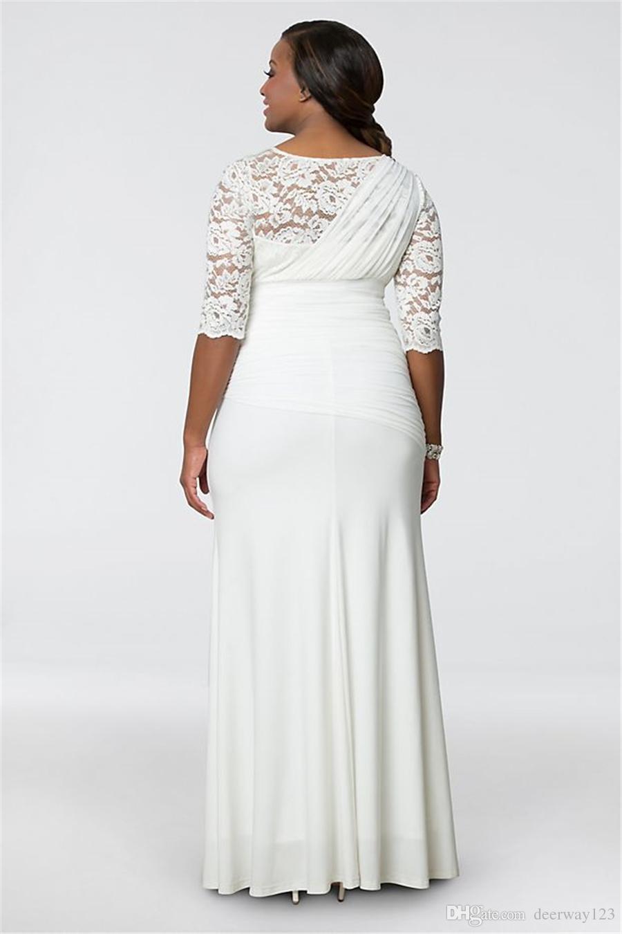 Elegant V-neck Plus Size Wedding Gown 19150906 Half Sleeves Lace and Chiffon Floor Length Bridal Dress vestido de noiva sereia sexy
