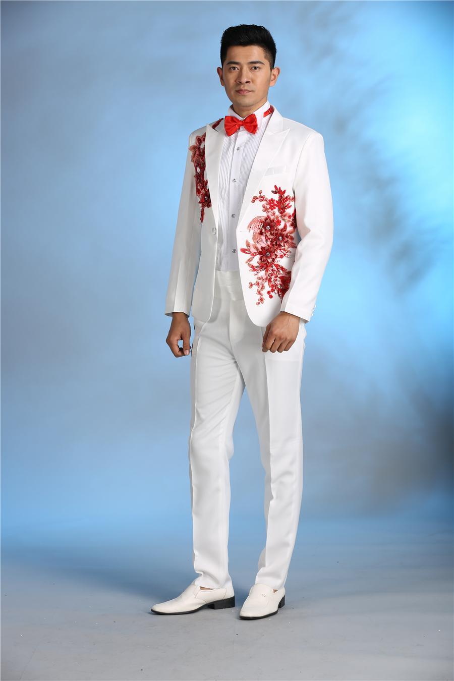 2018 Wholesale Latest Coat Pant Designs White Applique Costume Men ...