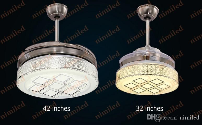 "nimi888 36""/42"" Invisible LED Ceiling Fan Pendant Lamp Cooling Lighting Remote Control Chandelier Living Room Restaurant Lights"
