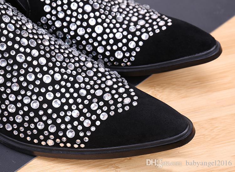 Novos Sapatos De Couro Genuíno Sapatos De Couro Genuíno De Diamante De Cristal Homens Sapatos De Festa De Casamento De Luxo Italiano Estilo Mens Preto Vestido De Sapatos