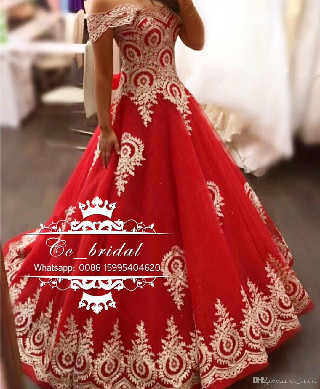 2017 New Red Ball Gown Prom Dresses Gold Appliques Lace Long Evening Gowns Tulle Floor Length Plus Size Dresses Custom Made Cheap Sale
