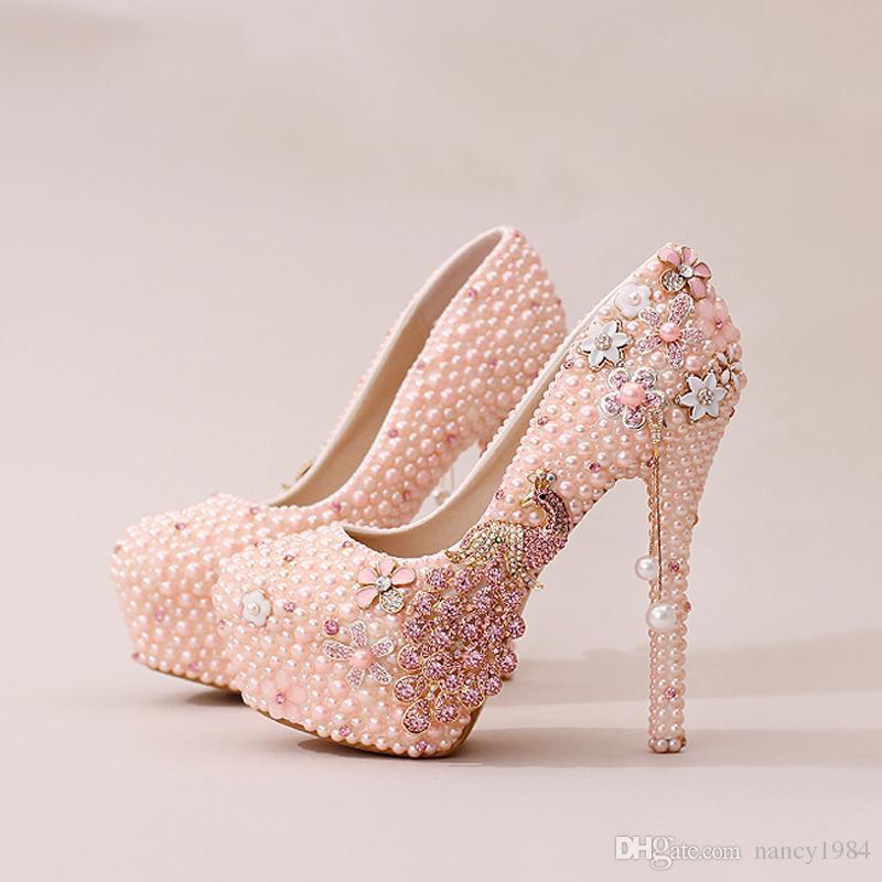 진주 피닉스 신부 드레스 신발 화려한 디자인 라인 석 웨딩 신발 파티 댄스 파티 하이힐 퍼플 화이트 댄스 파티 이벤트 신발