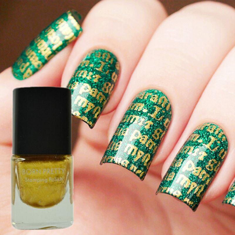 6ml Gold Nail Stamping Polish Born Pretty Nail Varnish Nail Art ...