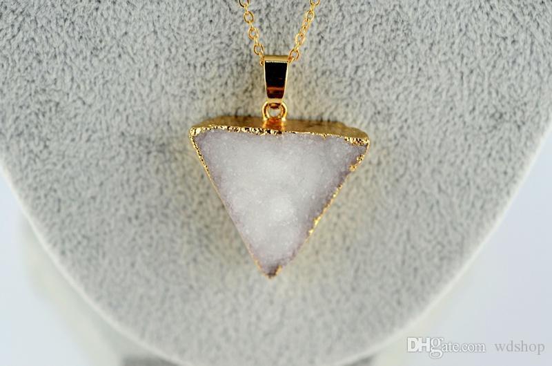 Druzy Quartz Crystal Charm Pendant Gold Plated Triangle Necklace Pendant High Quality DIY Druzy Jewelry 25*27mm