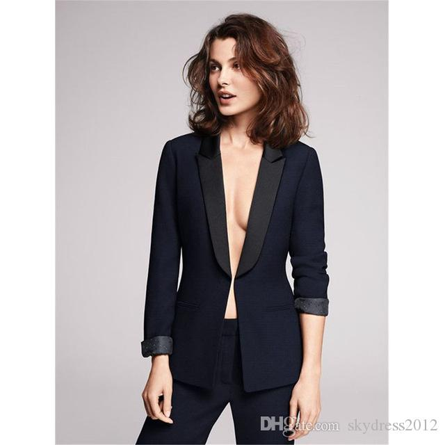 Women Pant Suits Design ladies business trouser suits female formal work wear black groom tuxedos custom made