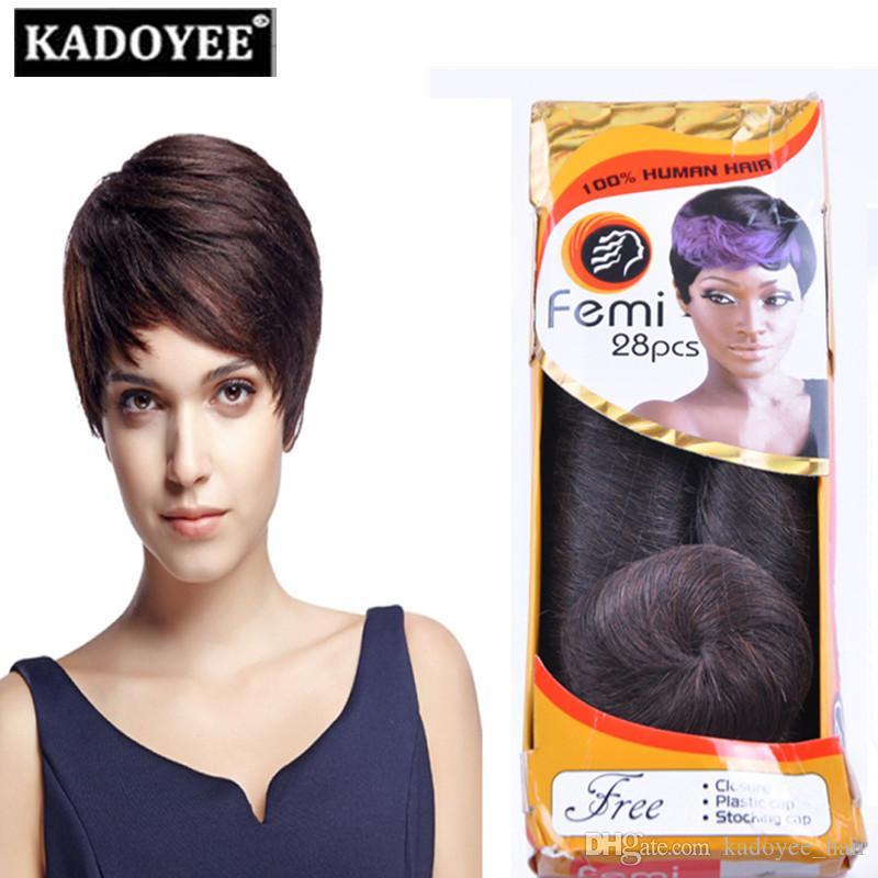 Pack Femi Brazilian Short Hair Weave Extension 3 5inch Pack