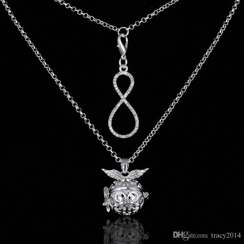 2016 carillon Harmony Bola deux couche collier vie de l'arbre main soleil lettre 8 Angel ball en pendentifs 4 styles de chaîne de grossesse Colliers