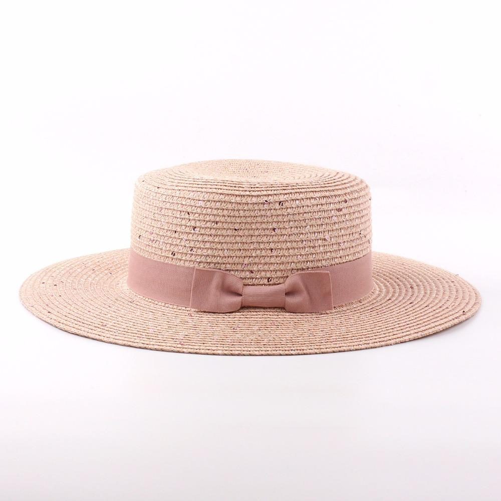 Wholesale 2017 Summer Flat Straw Hats For Women Sequined Bow Sun Hat Ladies  Fedora Sombreros Mujer Fedora Hats Visor Hats From Gocan 60ed6ab6737
