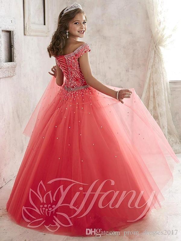 Little Girls Pageant Dresses indossare New Spalla Crystal Beads Coral Tulle Formale Party Dress adolescenti Bambini Fiori Ragazze Abiti HY1189
