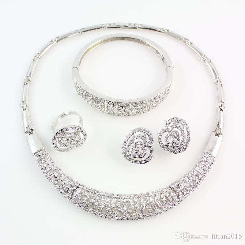 Venda quente Contas Africanas Conjunto de Jóias de Moda Dubai Conjuntos de Jóias de Prata Banhado India Design Para Noivas Do Casamento