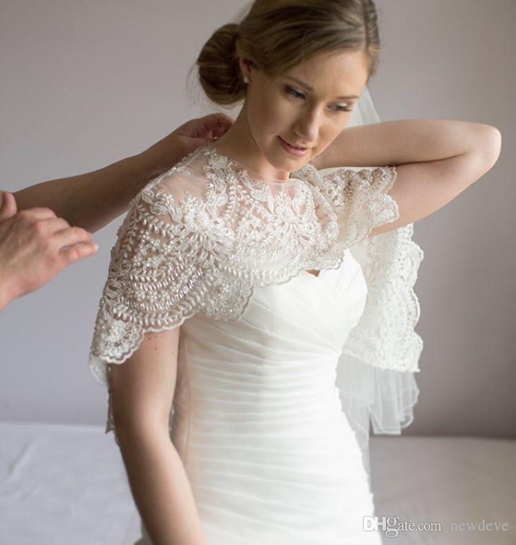 Zarif Güz Gelin Sarar Scoop Kolsuz Düğün Pelerin Dantel Aplike Boncuk Tül Artı Boyutu Bolero Ceketler