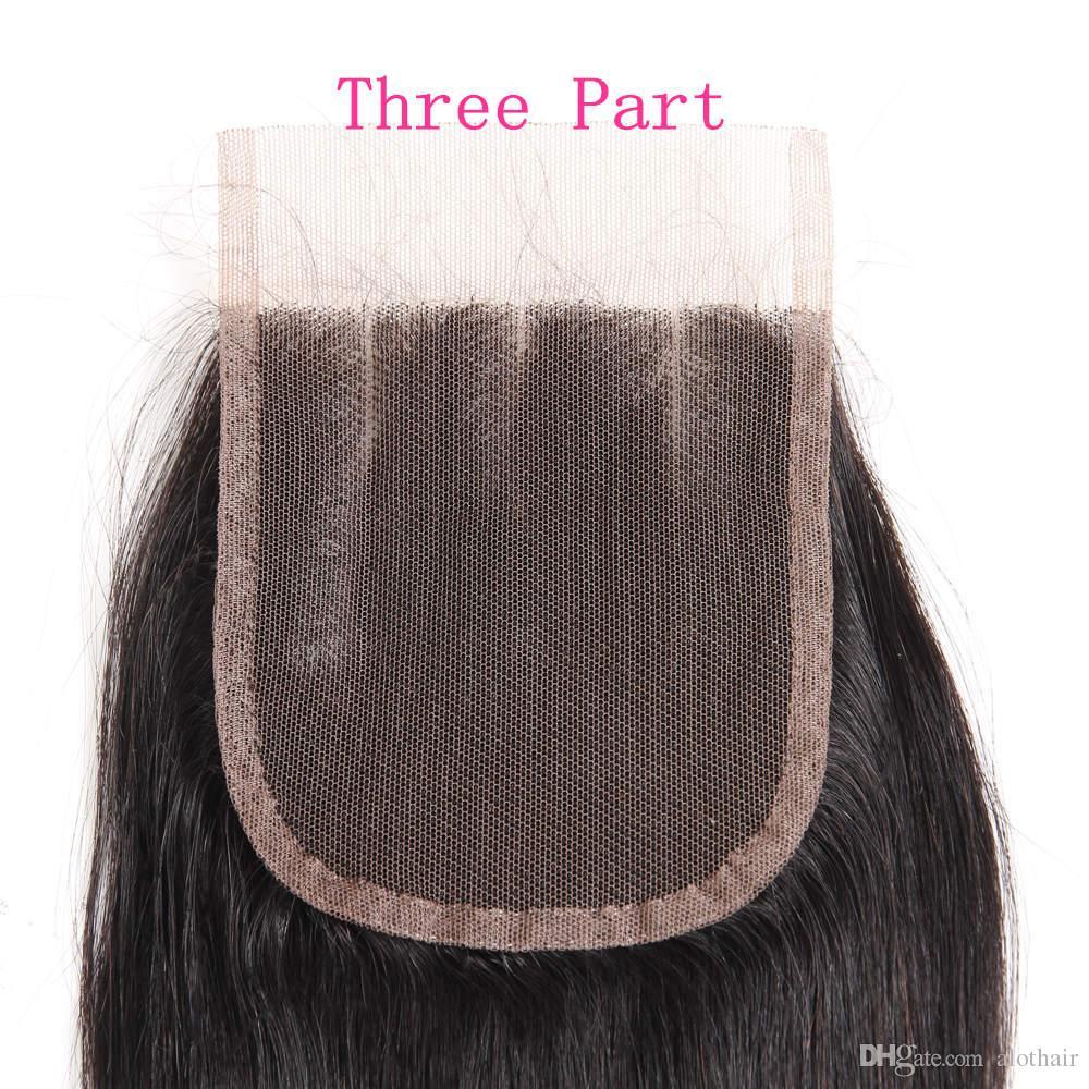 Indian Virgin Hair Bundles Straight Hair Brazilian Indian Peruvian Malaysian Human Hair 3 Bundles With 4x4 Lace Closure Free Middle 3Part