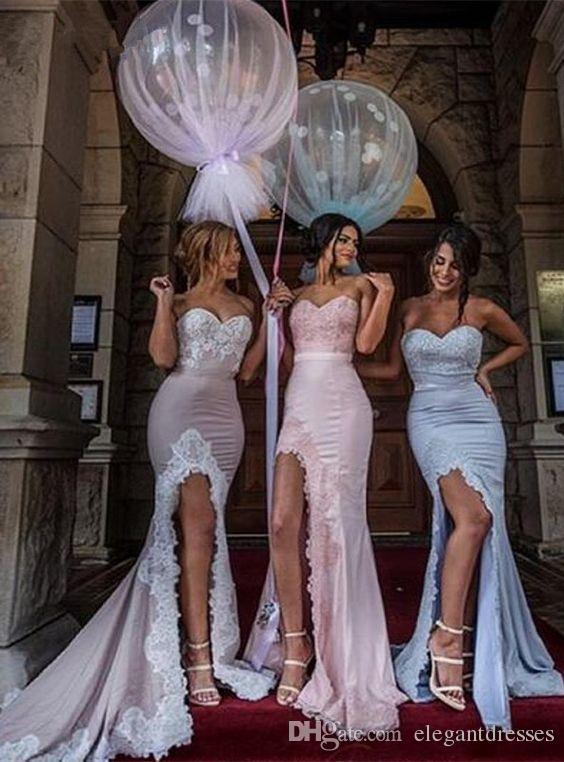 2021 Guaina Spalato Sweetheart Applique di Pizzo Lungo a buon mercato Abiti da ballo Sexy Junior Blush Rosa Abiti da damigella d'onore rosa