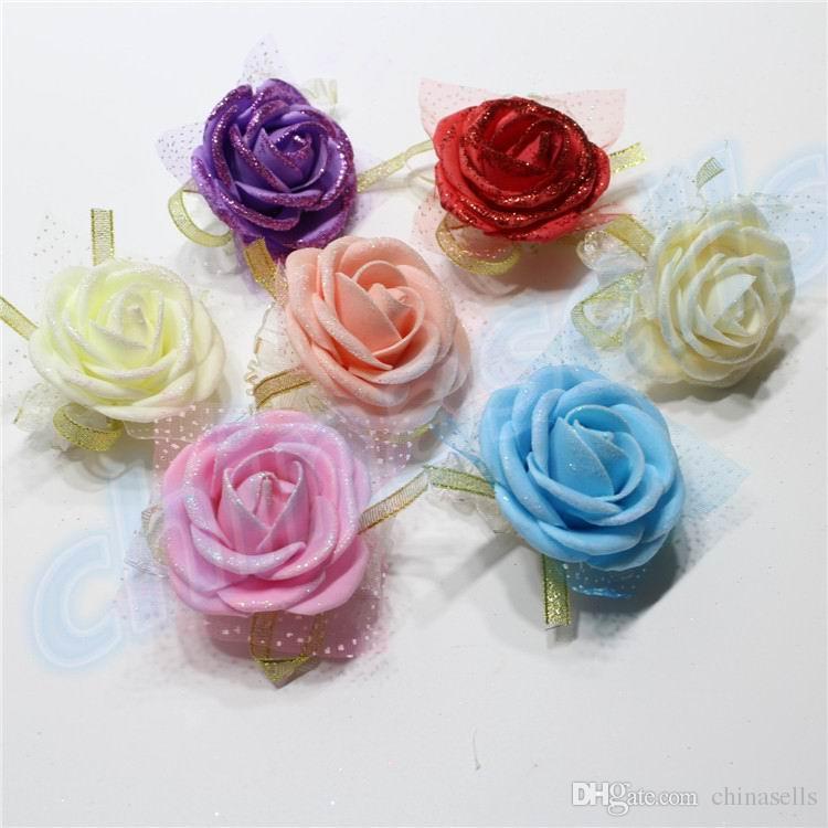 Bridesmaid Bride Wedding Props Hand Flower Silk Rose Bride Wrist corsage Flowers Wedding Decoration party Festive Props