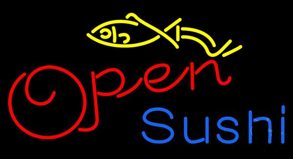 "Sushi Open Fish Neon Sign Custom Handmade Real Glass Tube Store Shop Restaurant Japanese Food Advertising Display Neon Signs 17""X10"""