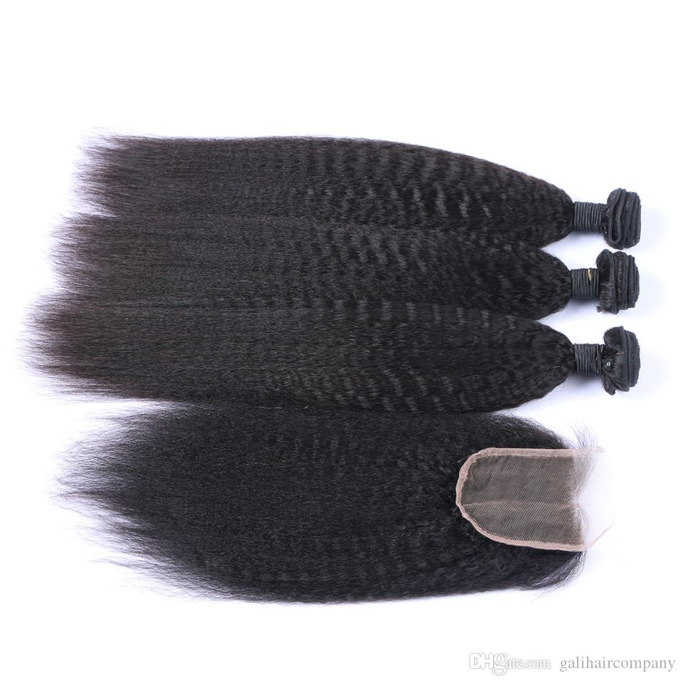 8A Quality Peruvian Kinky Straight with one 4*4 Lace Closure Unprocessed Human Hair No Tangle No Shedding Soft Full Fee DHL