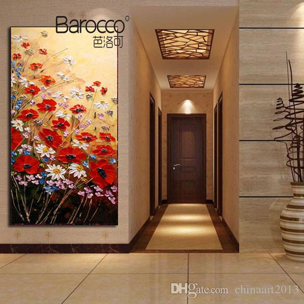Modern Simple Flowers Oil Painting Pure Hand Painted Palette Knife Oil Painting on Canvas Home Wall Art Decoration Gift