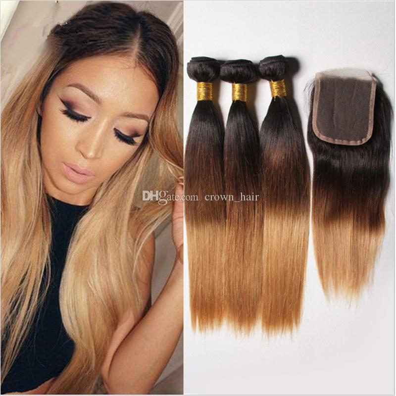 Wome #27 Peruvian Straight Hair With Closure Honey Blonde Color Human Hair Weave 3 Bundles With 4x4 Lace Closure Non Remy Hair Human Hair Weaves