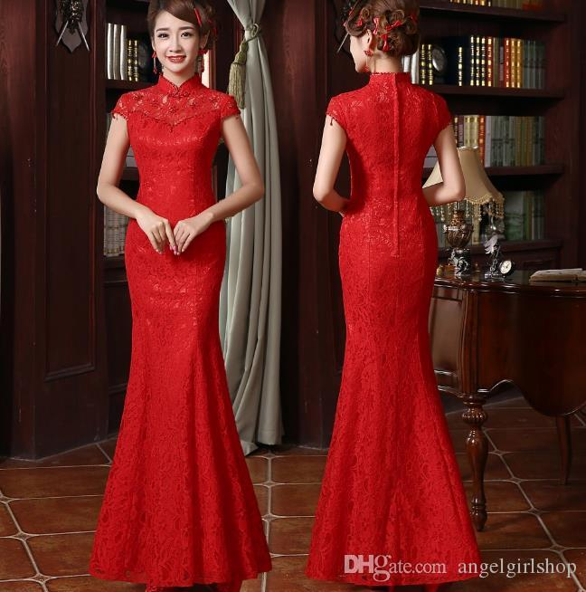 718fb894744 Chinese Traditional Dress Long Cheongsam Chinese lace Wedding Dress  Cheongsam Embroidery Qipao Red Mermaid wedding dress Gown for Women