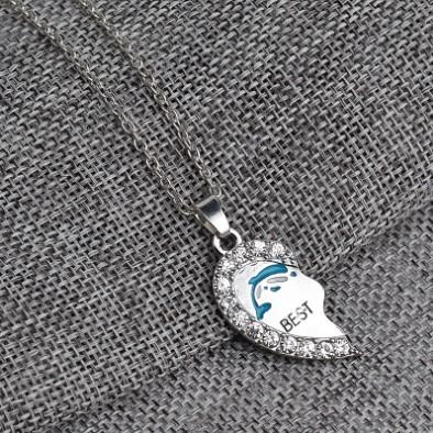 Best Friends Dolphin Necklace Set Silver Plated Rhinestone Embellished Necklaces Gift Idea Unique Jewelry Chokers Necklaces