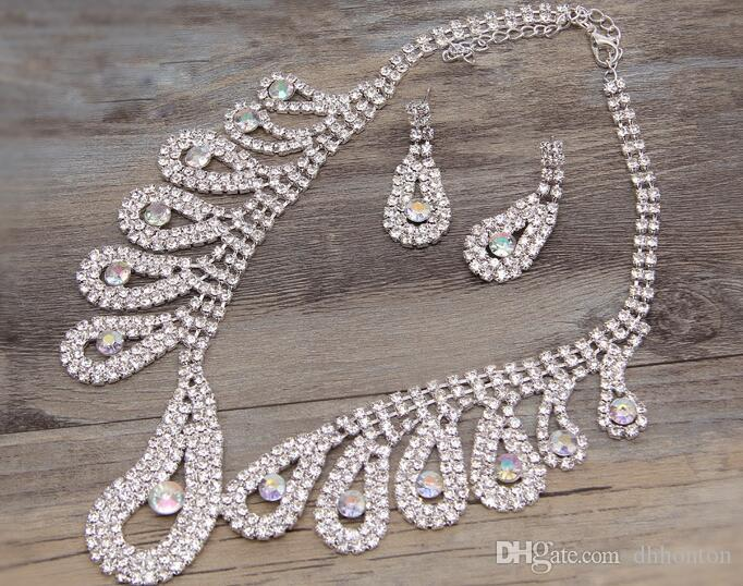 Wedding Bridal Jewelry Sets Girls Earrings Necklace set wedding Party bridalmaid jewelry Rhinestones Accessories HOT SELL HT103
