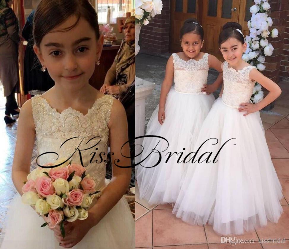 Ivory Cheap Flower Girls Dresses Beading Princess Ball Gown Vintage