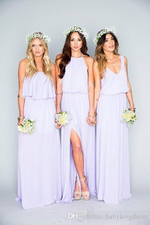 New Style Neckline Boho Bridesmaid Dresses Long Floor Side Split Chiffon Maid Of Honor Wedding Party Gowns