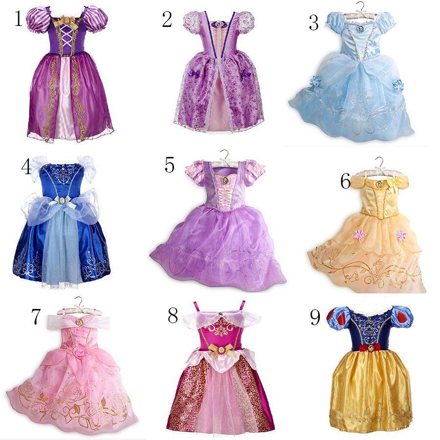 9ed777888 Compre Los Bebés Princesa TuTu Vestido De Encaje Niños Nieve Blanco  Rapunzel Princesa Vestidos De Dibujos Animados Niños Vestido De Cenicienta  Para La ...