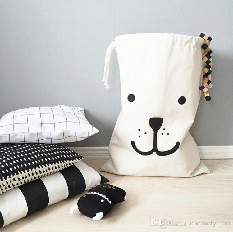 Large Baby Toys Storage Canvas Bags Bear Laundry Hanging Drawstring Bag Useful
