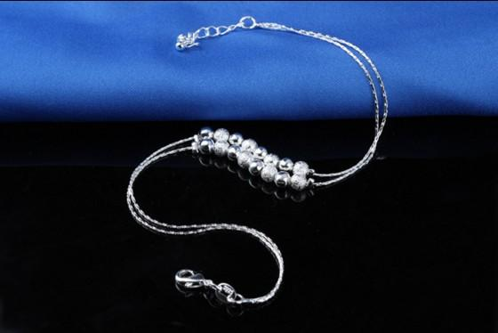 Sterling Silber 925 Knöchel Kette 16 Silber Perlen Knöchel Armbänder Geschenke für Mädchen Fußkette barfuss Sandalen