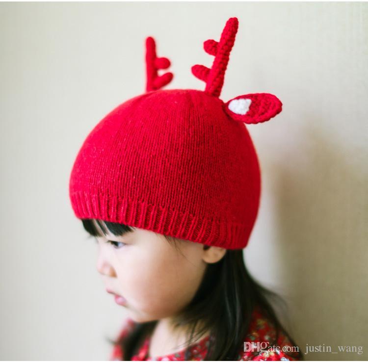Горячая Baby Hat девушка мальчик малыш вязаная шляпа стиль персонажа младенческой дети Вязание крючком шапки Рождество лося Рог теплая осень зима шляпа