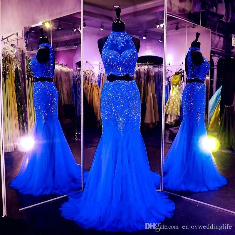 Red Royal Blue Fuchsia Lange Spitze Kristallrhinestones Perlen Mermaid Prom Dresses Zweiteilige Abendkleider Formale Party Pageant Kleider