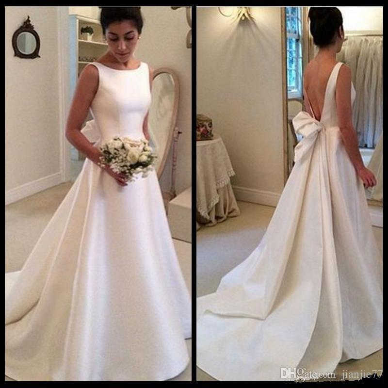 Discount High Neck Simple Backless A Line Ivory Satin Wedding Dress With Ribbon Vestidos De Noiva Gowns 2018 Designer Gown Fashion