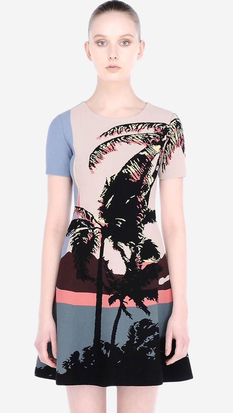 Novidade impressão mulheres a linha de vestido em torno do pescoço de manga curta vestidos casuais 030417