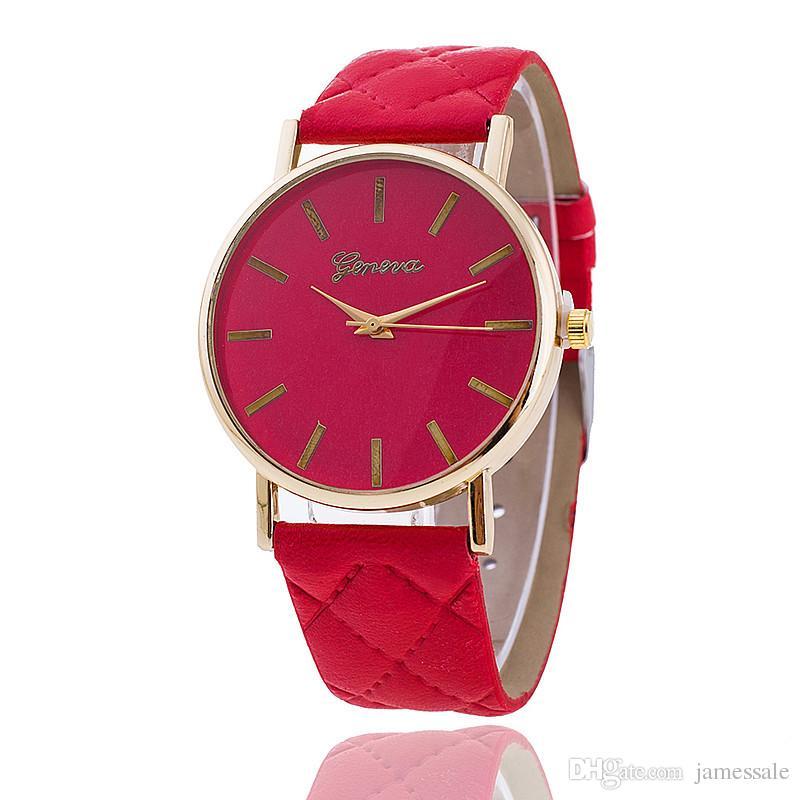 Venta al por mayor vestido de mujer reloj de ginebra mujer color oro rosa Reloj de moda vestido de mujer relojes de cuero