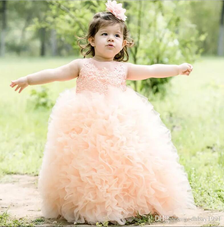 Vestidos Primera Communion enfant en bas âge Glitz Pageant Robes belle robe de fille de fleur robe de bal